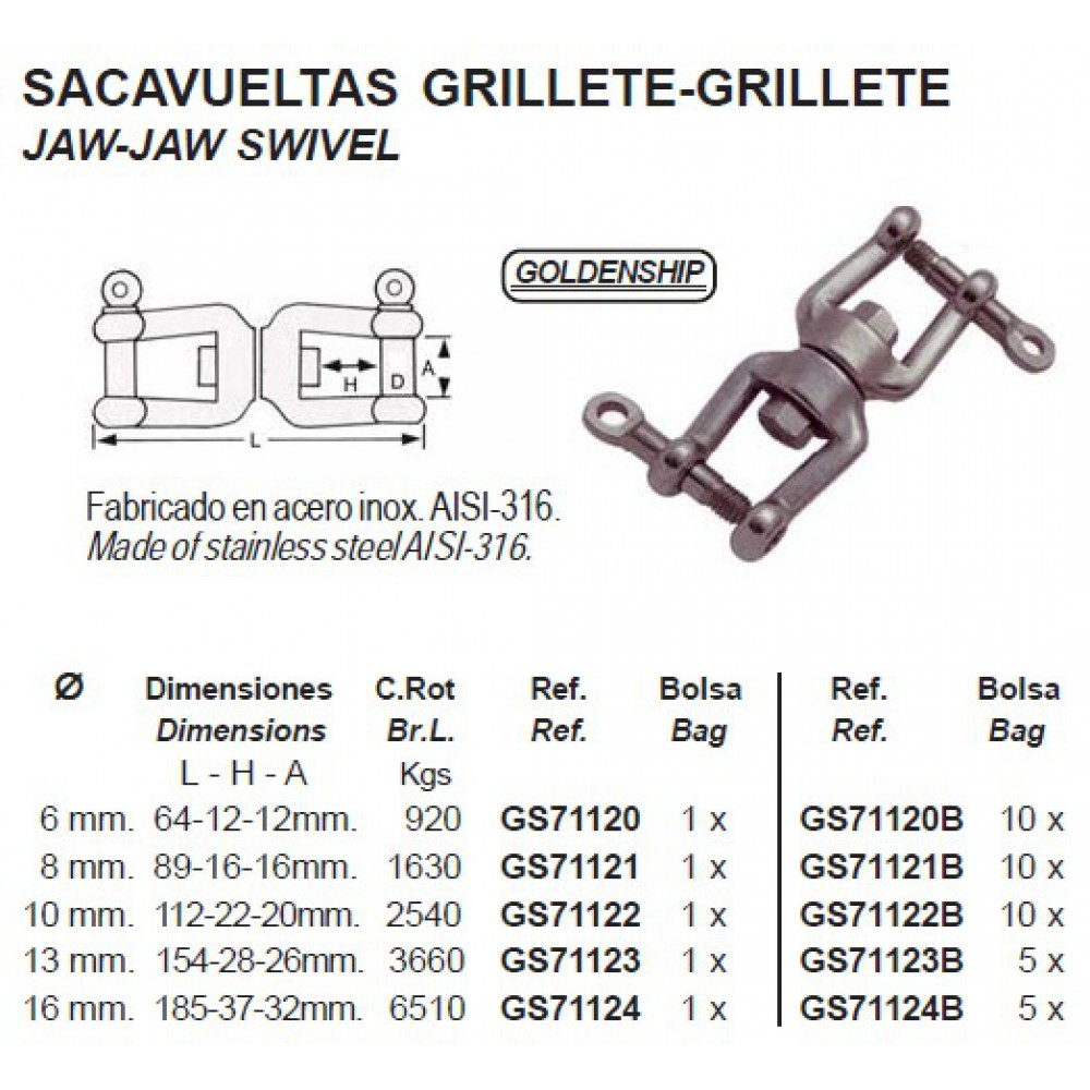 Jaw-jaw Swivel 6 t/m 16 mm RVS